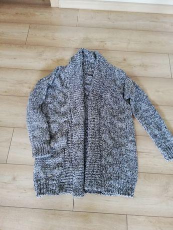 Kardigan długi swetr damski.