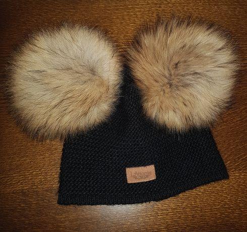 LAttante czapka, baby alpaca, naturalne futerko