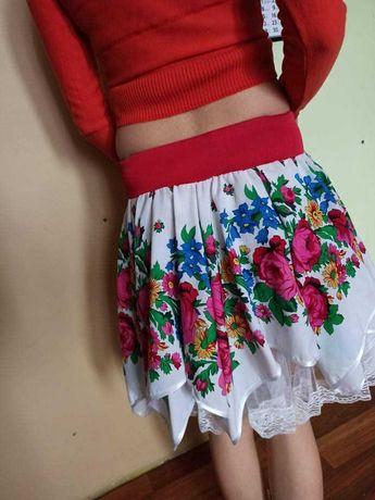 Spódnica folk biała koronka kwiaty S