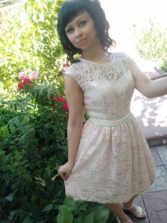 Нарядное, свадебное, вечернее, выпускное платье, беж