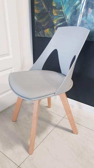 Nowe krzesło modern nowoczesne szare drewno skóra komplet szare 2 szt