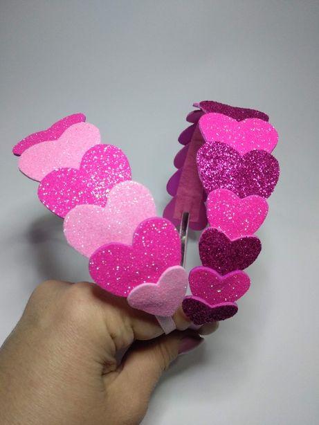 Обруч с сердечками в любом цвете 55 грн