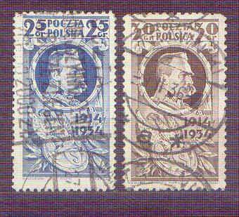Znaczki Fi 266-267 Józef Piłsudski Legiony 20 r0cznica wymarszu 1934