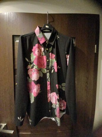 Koszula czarna w kwiaty 38