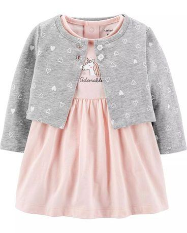 Комплект боди-платье и кардиган Carter 's для девочки