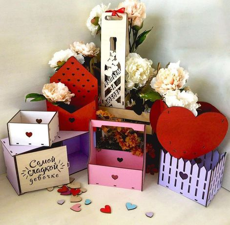 Подарочные коробки, ящики, коробки для цветов, лазерная резка, фанера