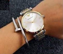 Emporio Armani zegarek damski srebrno-złoty NOWY