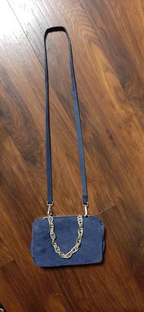 Skórzana niebieska torebka Zara WOMAN NOWA