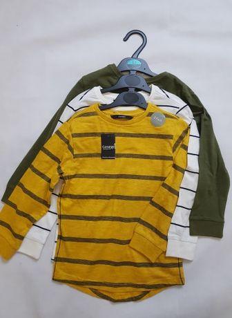 Bluzki z długim rekawem 3pak 110-116cm firma George z Anglii