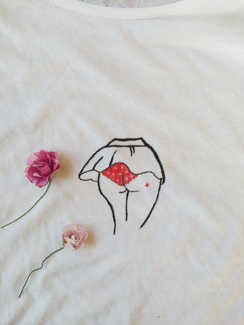 t-shirt z krótkim rękawkiem ręcznie malowany
