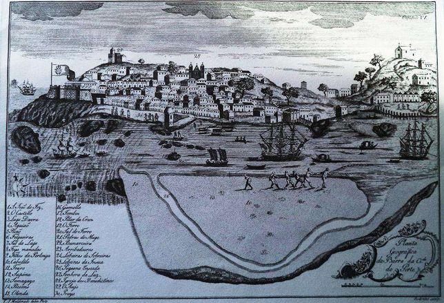 Gravura da Planta Geográfica da Barra da cidade do Porto