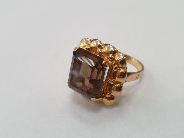 Duży złoty pierścionek damski/ 750/ 14.6 gram/ Topaz/ R17/ sklep Gdyni