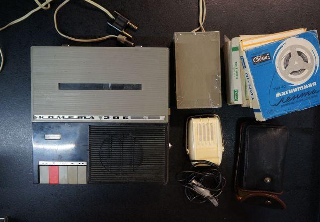 Раритетный бобинный магнитофон Комета 206, С микрофоном и бобинами