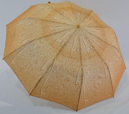 Женский зонт Полуавтомат антиветер, 10спиц карбон зонтик складной беж