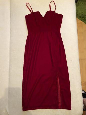Czerwona/malinowa sukienka bandeau roz. 36