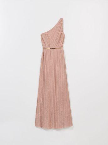 Sukienka mohito, długa, maxi, plisowana, na jedno ramię, L