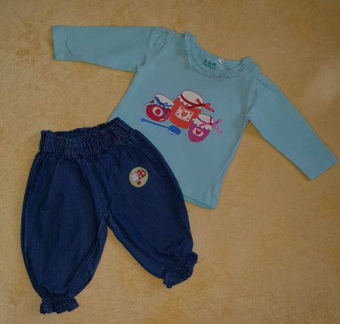 Komplet niemowlęcy 5-10-15 bluzka i spodnie jeansy, rozmiar 62