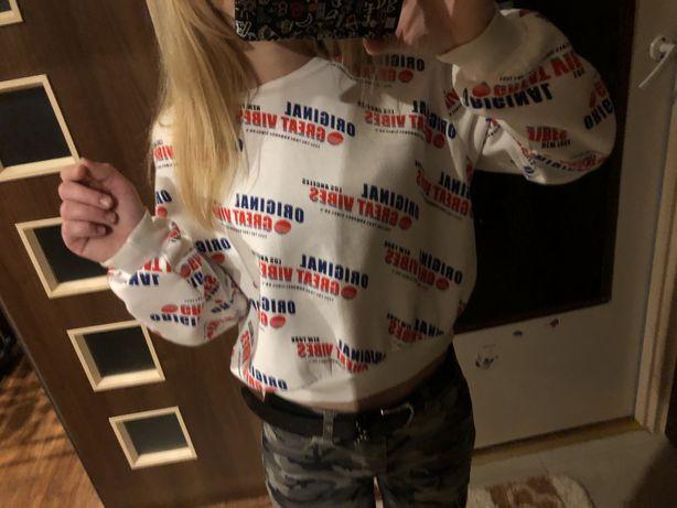 H&M biala cieplutka bluza r.M