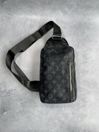 Мужская сумка слинг Louis Vuitton Мужская нагрудная сумка бананка.