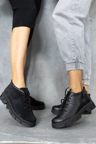 Женские ботинки кожаные зимние черные 23,5-26,5см Натур Кожа Шерсть