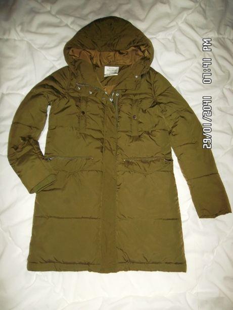 Płaszcz , płaszczyk , kurtka zimowa khaki Bershka r. 36 bdb. stan