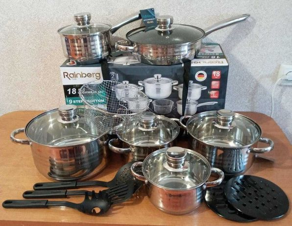 Набор на 18ед предметов / Кастрюли - посуда мраморное покрытие