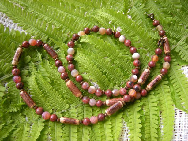 naszyjnik męski 43,5cm i bransoletka 19cm jaspis agat drewno egzotyczn