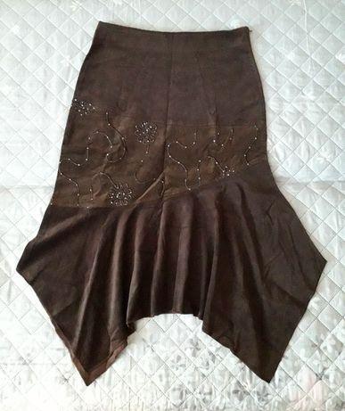 NOWA, brązowa spódnica damska ELEGANCKA XL / XXL