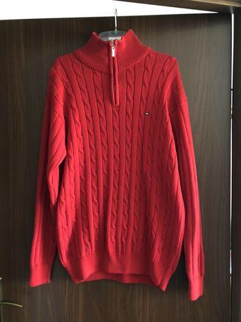 Golf Tommy Hilfiger czerwony męski rozpinany bluza sweter
