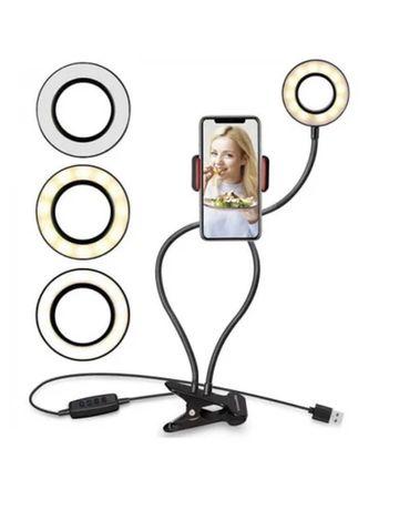 Кольцевая LED светодиодная селфи лампа 9 см с креплением для телефона
