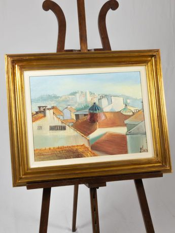 Pintura de telhados e claraboias de cidade portuguesa