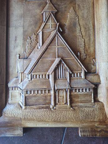 Płaskorzeźba drewniana Kościół Wang