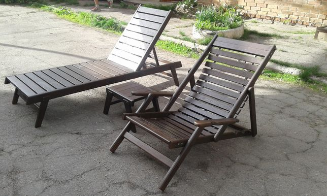 Садовая мебель, кресла, шезлонги,лежаки, столики, материал дуб.