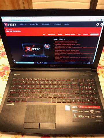 Laptop gamingowy MSI GE62 6QF i7-6700HQ 16GB RAM 240SSD 1TB HDD GTX970