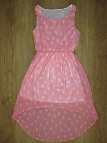 Elegancka zwiewna modna sukienka z podszewką roz. 128