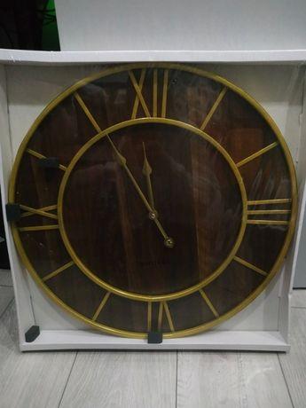 Duży drewniany złoty zegar ścienny 50 cm vintage