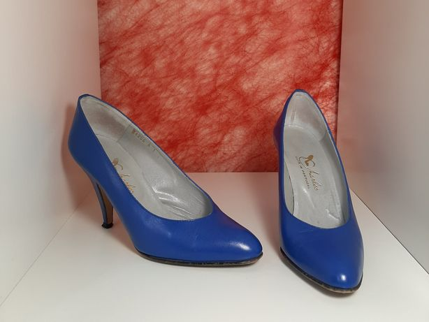 Sapatos de salto alto vintage azuis