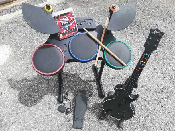 Guitarra e Bateria PS3 com jogo Guitar Hero