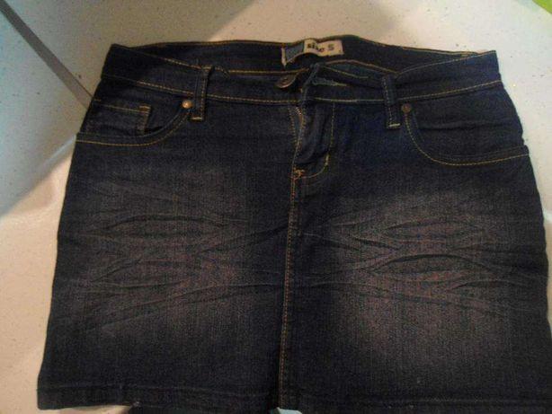 Spódnica jeansowa, krótka, MOODO, ciemna niebieska, r. 36 - S