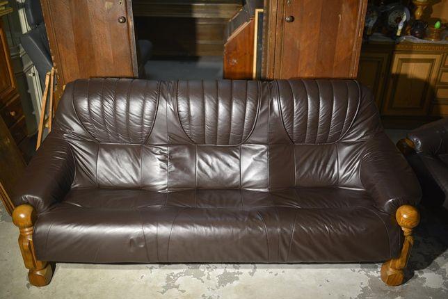 Sofa i fotel piękny wypoczynek skórzany