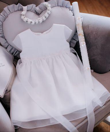 Sukienka minimi 80 biała chrzest