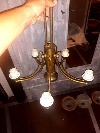 Żyrandol mosiężny lampa wisząca mosiądz + 3 klosze (szkło marmurowe)