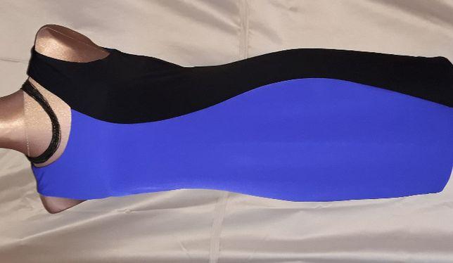 CALVIN KLEIN Sukienka Czarna Niebieska Charbowa Kobaltowa Szafirowa