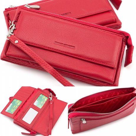 Красный кожаный кошелек и клатч Marco Coverna из турция.
