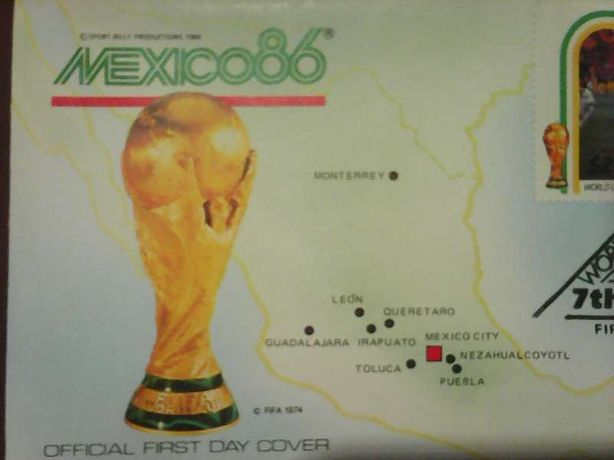 Znaczek FIFA 1974 World Cup Mexico 1986 Scotland ST.Vincent 7th MAY 86
