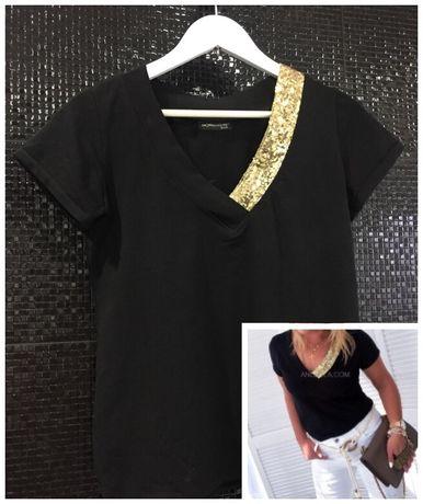 T-shirt r38 M bluzka czarna ze złotem REZERWACJA