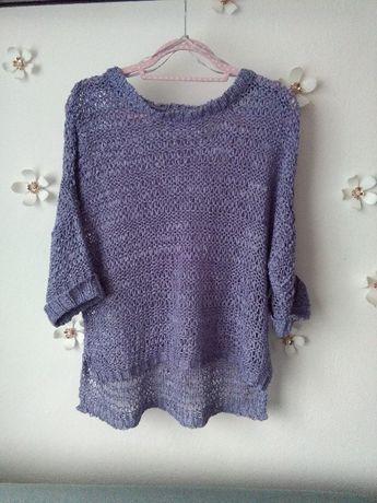 Liliowy oryginalny ażurowy sweterek oversize onesize