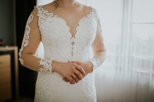 Tanio! Suknia Ślubna z welonem, trenem i dopinanymi rękawkami