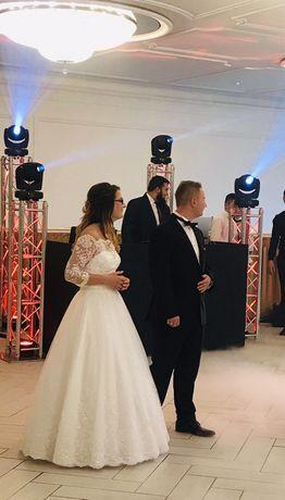 Biała koronkowa suknia ślubna hiszpanka S 36/38 księżniczka