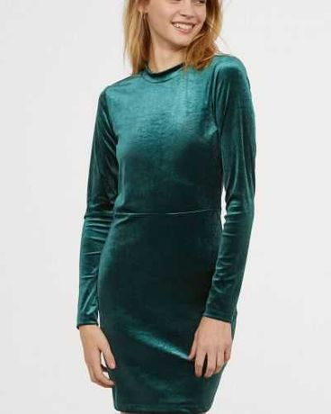 Велюровое бархатное платье H&M
